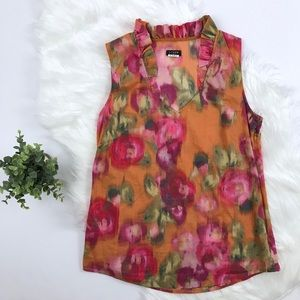 J Crew blurred roses sleeveless top with ruffles